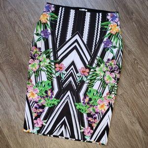 Bisou Bisou Abstract Floral Stripe Career Skirt LG